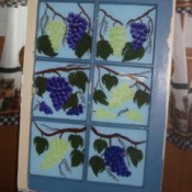 Old Window Painting - painting of grape vine on old six pane window
