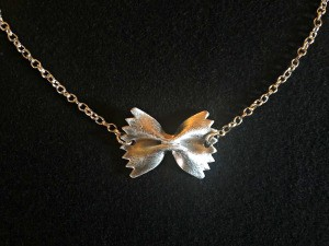 Silver Pasta Necklace - silver bow tie pasta necklace