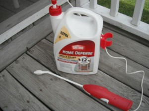 A bottle of Ortho Home Defense for ant control