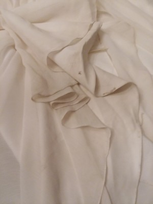 Cleaning a Polyester Wedding Dress  - closeup of dirt stains