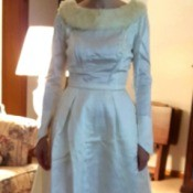 Whitening a 50 Year Old Peau de Soie Wedding Dress - woman wearing the dress
