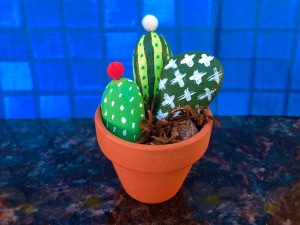 Decorative Stone Cactus - small terra cotta pot with super cute stone cactus