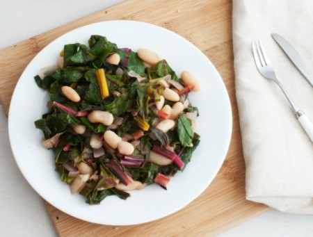 Swiss Chard with Cannellini Beans on a white plate