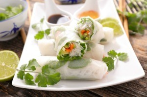 Vegetarian spring rolls on a white plate