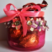 Floral Glass Jar Wedding Favor - finished jar filled with candy