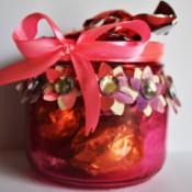 Floral Glass Jar Wedding Favor - finished jar filled with candy