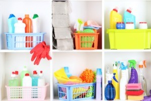 Cleaning supplies in cube shelves.