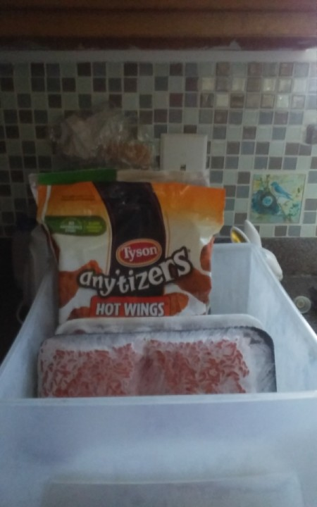 A container full of frozen food, for the freezer.