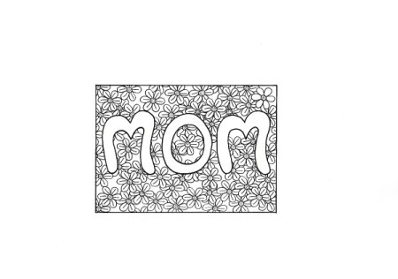 Floral Mother's Day Card - mini coloring page