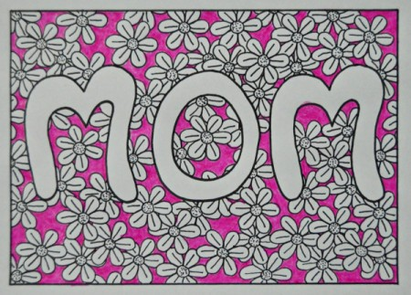 Floral Mother's Day Card - color background