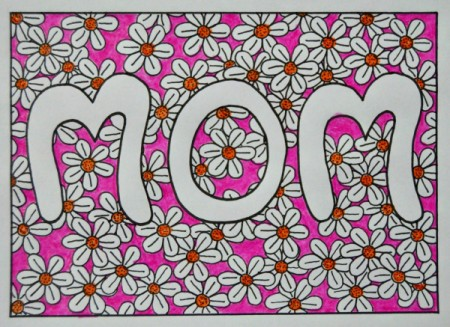 Floral Mother's Day Card - color flower centers