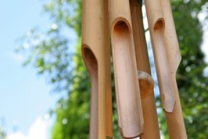 Bamboo wind chime in a backyard