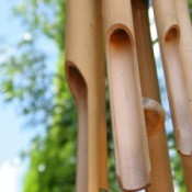 Bamboo wind chime in a backyard
