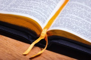 Close up of an open bible.