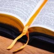 Close up of an open bible.