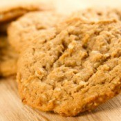 Close-up of oatmeal cookies on a wooden cutting board