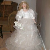 Identifying a Porcelain Bride Doll - doll in stand