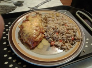Cheesy Salsa Chicken on plate with rice