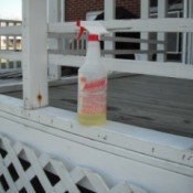 Awesome Cleaner from the Dollar Store - spray bottle of cleaner on porch