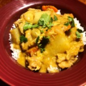 Thai Yellow Curry over rice on in bowl