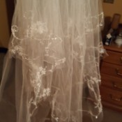 Dyeing a Wedding Veil - wedding veil with rhinestones