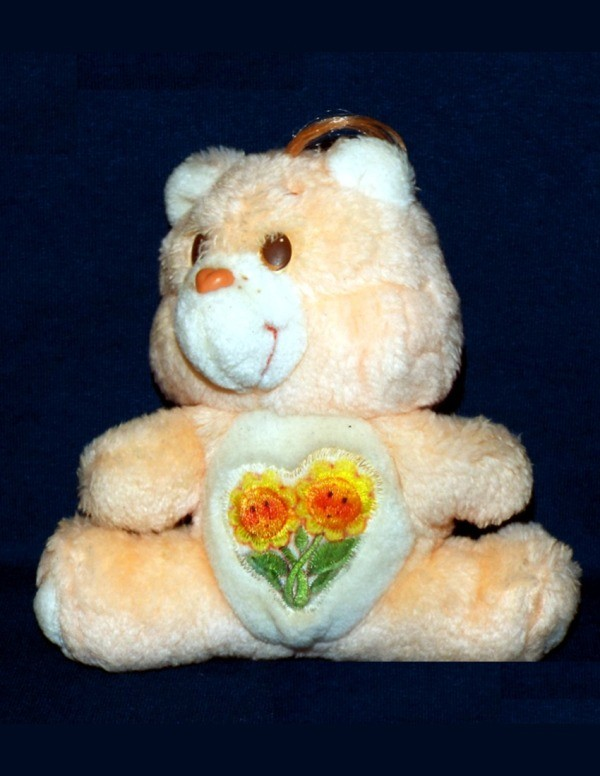An orange stuffed bear with flowers on its stomach.