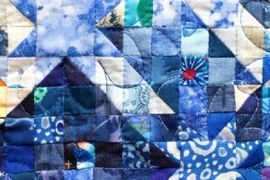 Closeup of blue quilt
