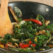 Kale Stir Fry in a pan.