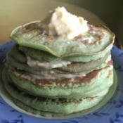 stack of Pandan Pancakes with Coconut Custard