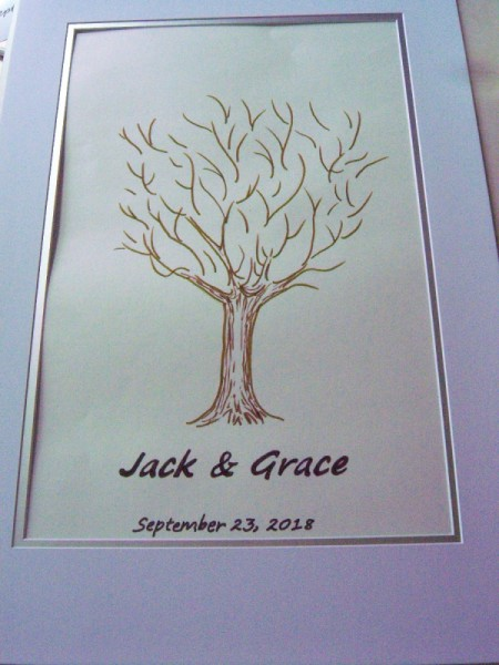 Fingerprint Guest Book Picture - letter the name of the bride and groom or special guest and the date