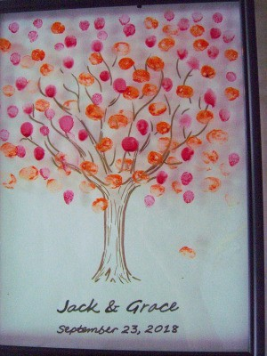 Fingerprint Guest Book Picture - tree covered with prints
