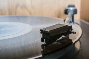 Closeup of a record player.