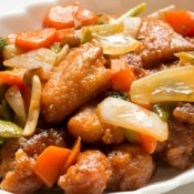 Sweet and Sour Pork on a serving dish.