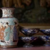 Chinese ceramic vase and bowls.