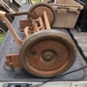 Value of a Shapleigh Hardware Co. Keen Kutter Reel Mower - mower on truck tailgate