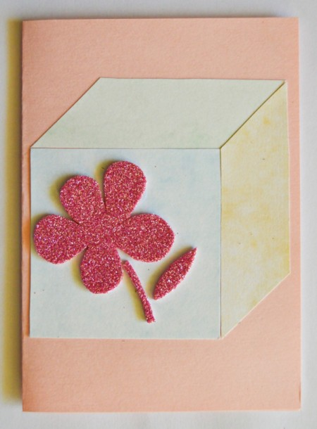 Baby's Toy Cube Card  - draw a flower on the back of the glitter foam, cut out, and glue to block