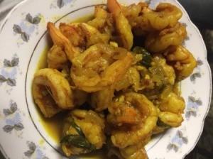 Stir Fry Jumbo Shrimp with Curry