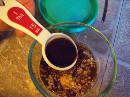 Mixing Honey marinating sauce