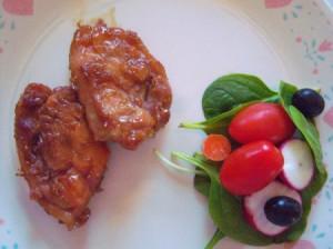 Honey Garlic Chicken on plate with salad