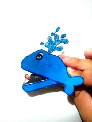 Funny Whale Craft - comical Jonah in the mouth of the whale