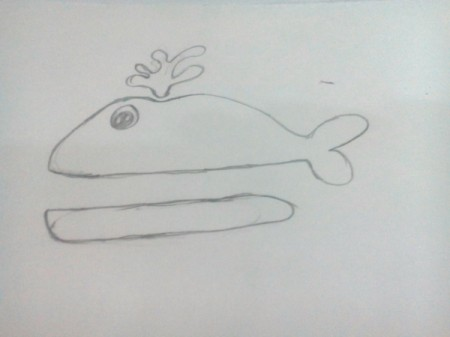 Funny Whale Craft - draw a whale with water spout and an elongated mouth