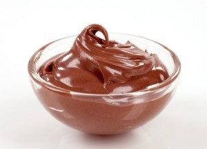 Bowl of chocolate pudding.