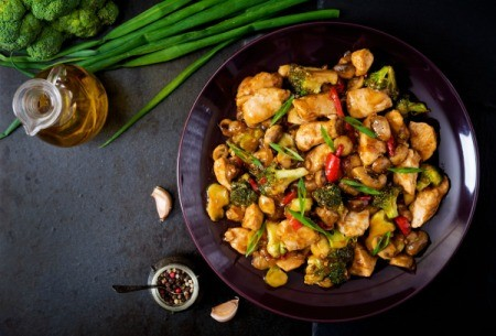 Ginger Chicken Stir Fry in a bowl.