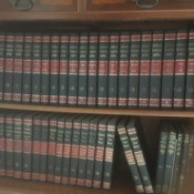 Value of Collier's Encyclopedias - books on bookshelf