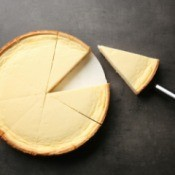 Cheesecake with slice taken out