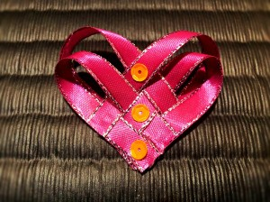 Woven Ribbon Heart - finished ribbon heart with sequins in the center of the sections