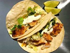 2 Fish Tacos with Lime Crema