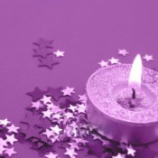 Purple glitter tea candle.