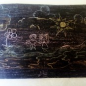 Crayon Etching - finished etching with other colors showing through the black crayon