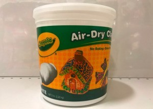 Storing Crayola Air Dry Clay - plastic tub of the clay